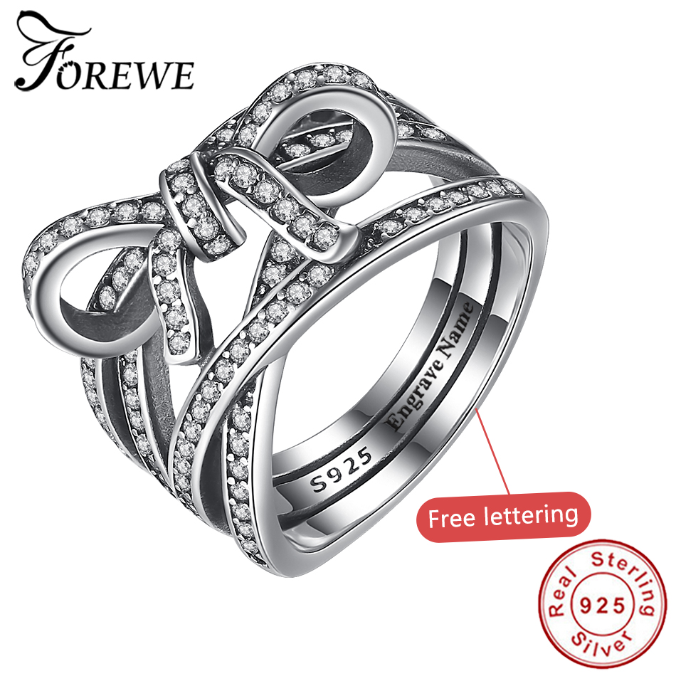 Forewe Authentic 925 Sterling Silver Big Bow Knot&Infinity Sentiment Finger Rings Crystal CZ Women Rings Wedding Jewelry