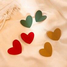 Fashion Red Green Khaki Heart Drop Earring for Women Vintage Big Cute Spray Metal Love Heart Earring 2020 Korean Jewelry Brincos