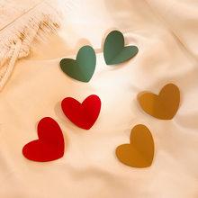 Boucles d'oreilles pour femmes, Vintage, rouge, vert, kaki, goutte de cœur, grand mignon en métal, amour, bijoux coréens, tendance, 2020