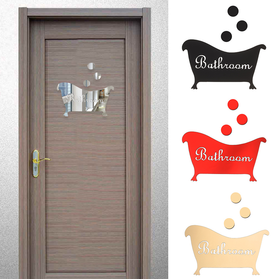 New Fashion Mirror Surface Wall Sticker Bathroom Door Plate Washroom Entrance Sign 3d Diy Arts Home Decoration Accessories Wall Stickers Aliexpress