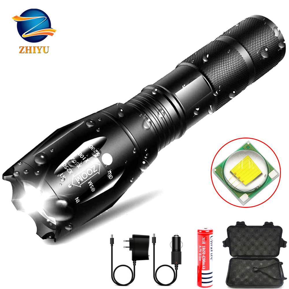 ZHIYU Led Flashlight Ultra Bright Torch T6/L2 Camping Light 5 Switch Modes Waterproof Zoomable Bicycle Light Use 18650 Battery