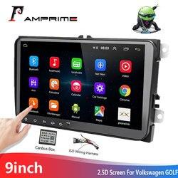 Автомагнитола AMPrime с GPS-навигацией на Android, 2din, для Volkswagen, Skoda, Golf 5/6, POLO, PASSAT B5, B6, мультимедийный плеер Mirrorlink