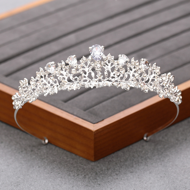 Silver Color Crystal Rhinestone Crown and Tiara Bridal Wedding Hair Accessories For Women Wedding Accessories Diadem Headpiece