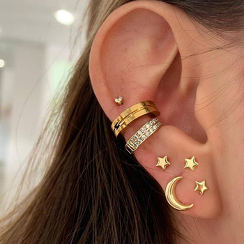 17KM Vintage Moon Star Stud Earrings For Women 2020 Fashion Geometric Female Crystal Gold Earring Set Bohemian Jewelry Wholesale