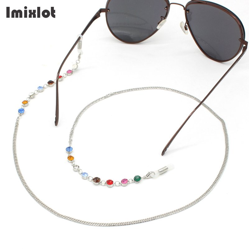 Fashion Chic Womens Gold Silver Round Crystal Eyeglass Chains Sunglasses Reading Glasses Chain Eyewears Cord Holder Neck Strap