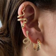 WUKALO 3 teile/satz Vintage Gold Silber Farbe Schlange Clip Ohrringe Ohr Manschetten für Frauen Männer Piercing Schmuck