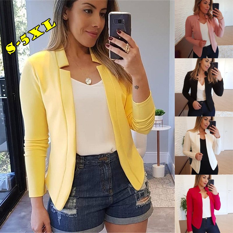 Eight Sizes Women Irregular Collar Solid Color Long Sleeve Slim Autumn Jacket OL Style Suit (5 Colors)