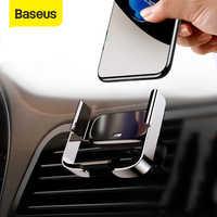 Baseus mini titular do telefone do carro de aperto automático para iphone sem fio de carregamento ar vent montar suporte do carro para samsung xiaomi