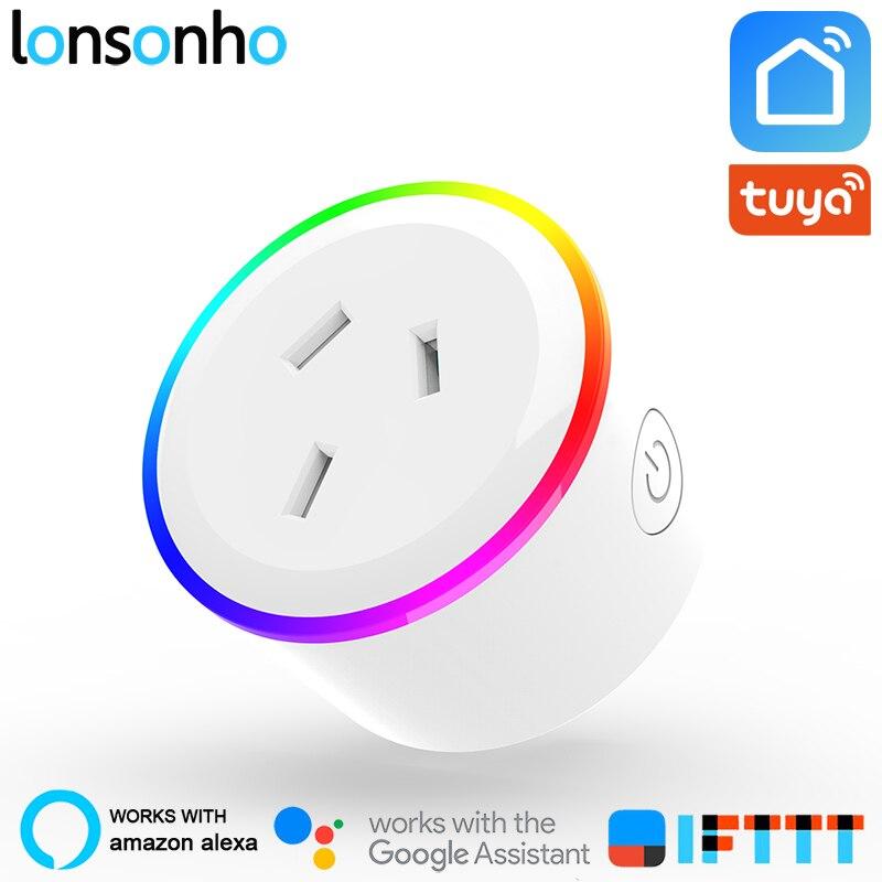 Prise intelligente Lonsonho Wifi prise intelligente australie nouvelle-zélande prise AU Tuya vie intelligente application fonctionne avec Alexa Google Home Mini IFTTT