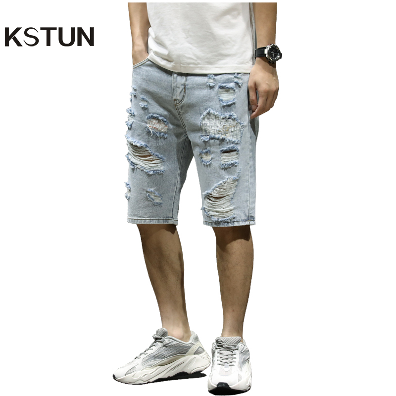 KSTUN Mens Ripped Short Jeans Light Blue Distressed Hollow Out Brand Clothing Cotton Shorts Men Breathable Denim Shorts Male 38