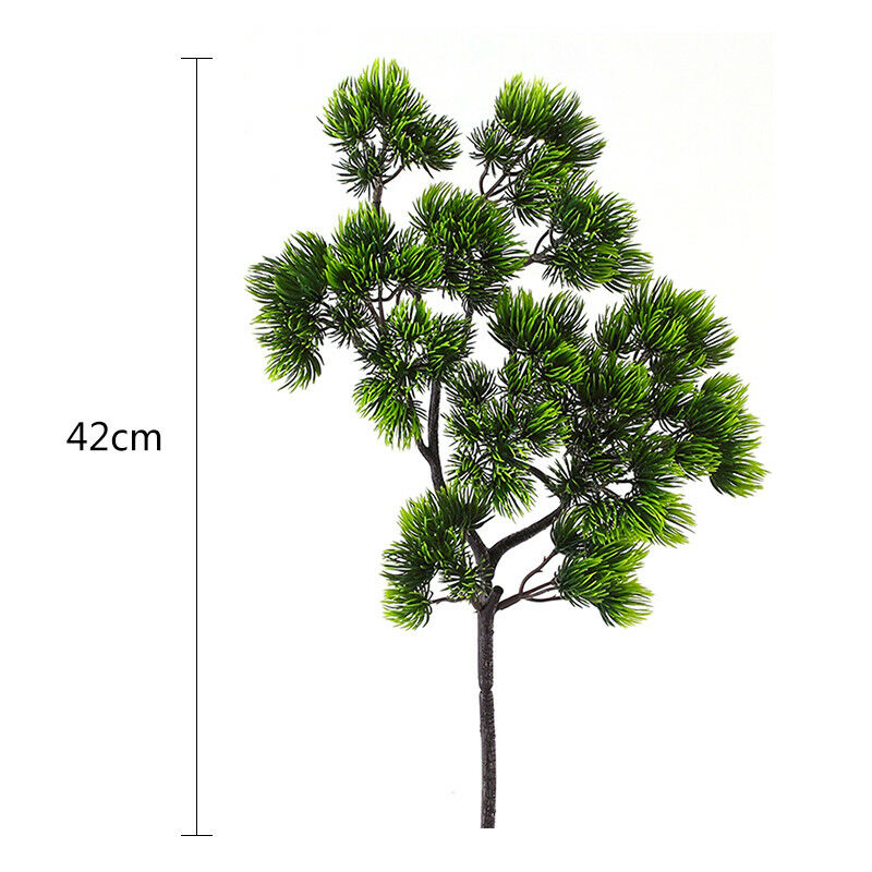 Artificial Plants Small Tree Leaf Pine Needle Leaves Branch Fake Ornaments For Home Decoration Hotel Garden Decor 42cm