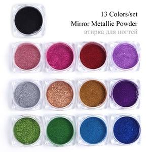 Image 5 - 13pcs Mirror Nail Glitter Set Chrome Powder Pigment Rub For Nails Rose Gold Sequins Dust Nail Art Decorations Manicure TRC/ASX 1