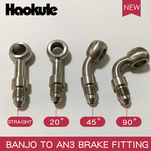 HAOKULE  STAINLESS STEEL  BANJO 10.2MM TO MALE AN3 TEFLON PTFE HOSE END FITTING BRAKE SYSTEM FITTINGS