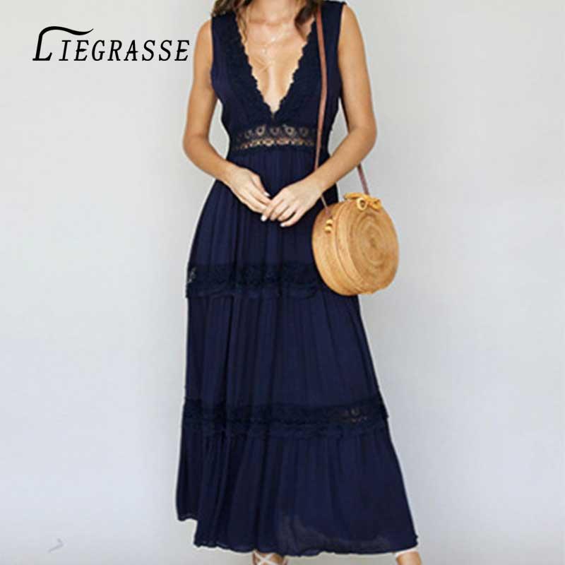 Liegrasse Long Beach Dress Cover up Women Swimwear Kaftan Cover-up Beachwear Pareo Saida de Praia
