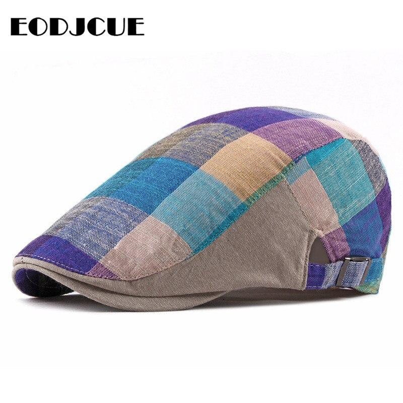 Fashion Men hat Cotton Golf Driving Plaid Beret Cabbie Hat Newsboy Flat Ivy Sun Summer Cap peaky blinder casquette cap