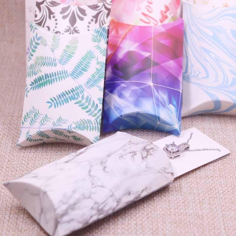 12pcs8x5x2cm Pillow Box With 5x4cm Inner Cards Newest Design Popular Custom Print Logo Paperboard Kraft Jewelry Display Packing