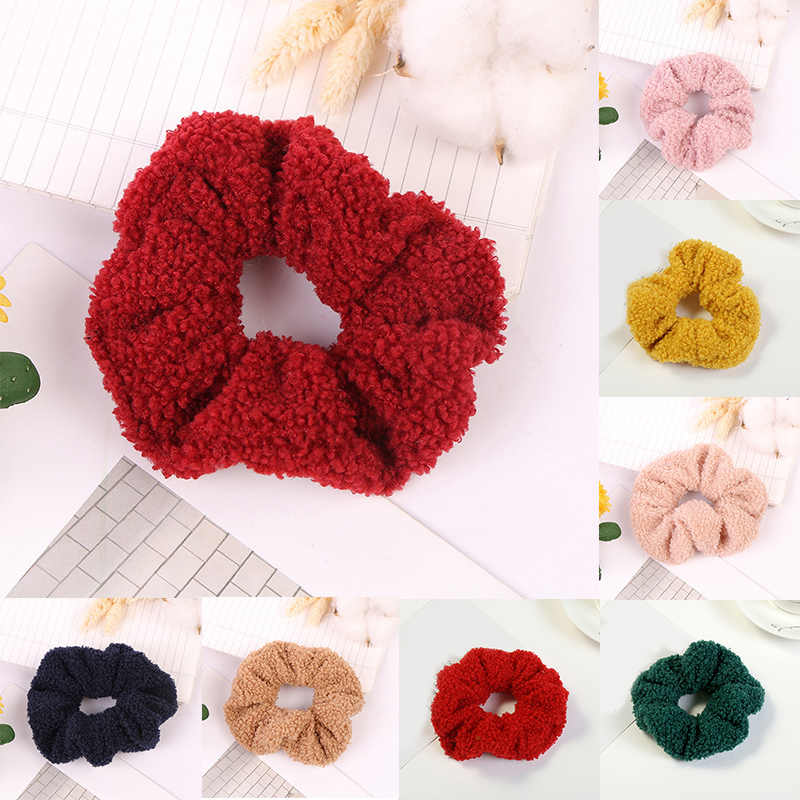 Fashion Women Elastic Hair Bands Soft Teddy Velvet Hair Bands Winter Hair Scrunchies Girl's Hair Tie Accessories Ponytail Holder