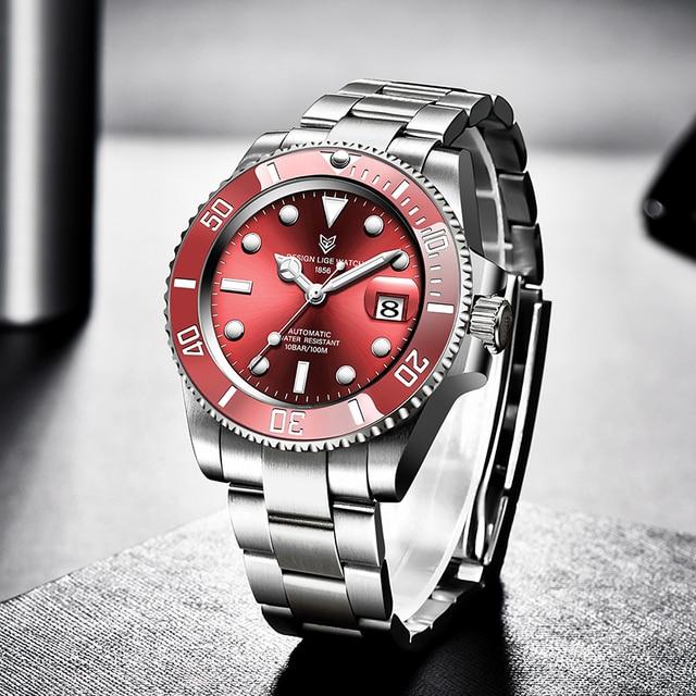 2021 Red Men Watches Top Brand Luxury Sapphire Watch Waterproof Automatic Mechanical Watch Mens Fashion Sport 316L Steel Clock 4