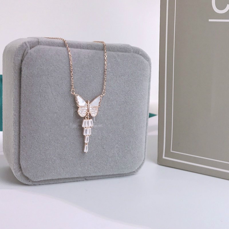 Купить с кэшбэком Originality Charm 925 Sterling Silver Luxy Women Pendant Necklace Stylish Cross Chain Fine Jewelry Choker Butterfly Shiny Tassel