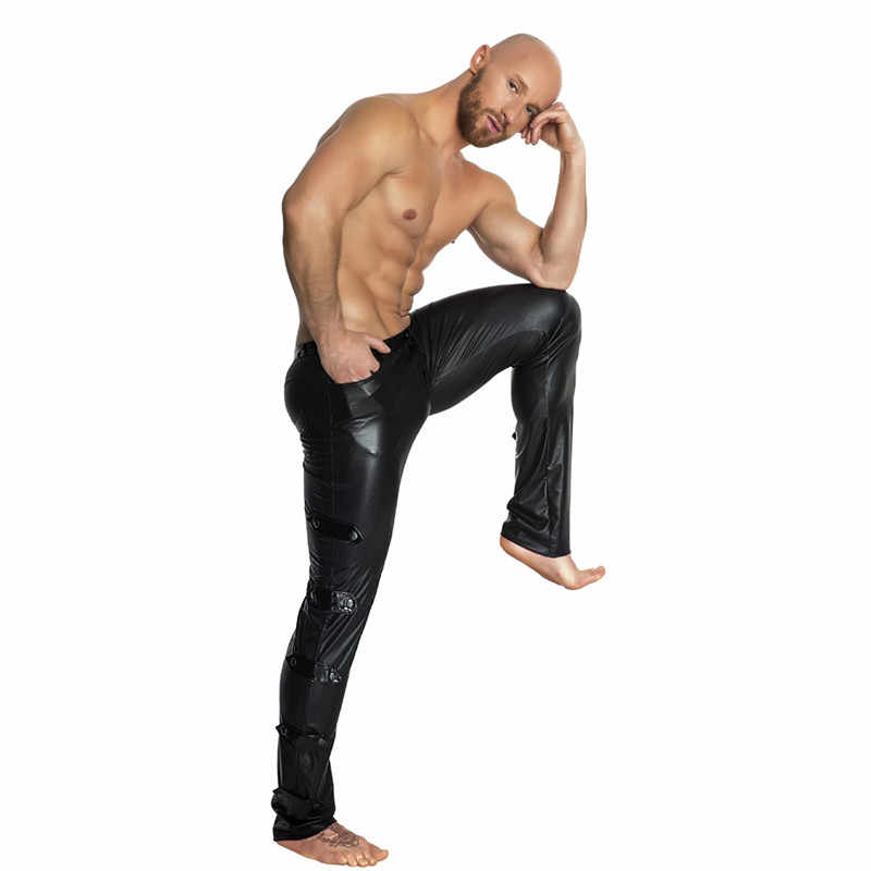 Pria Kulit Hitam Wetlook PVC Tahap Memakai Fetish Faux Kulit Pensil Celana Kurus LaTeX Legging Erotis Gay Pole Dance Club memakai