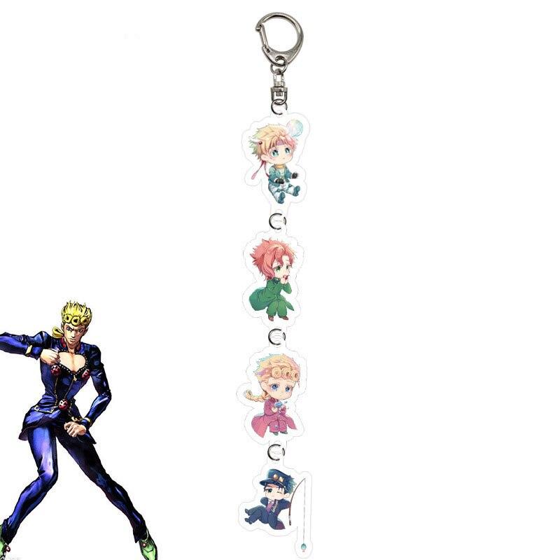 4 In 1 Anime JOJO Bizarre Adventure Keychain Holder Fashion Cartoon Jotaro Kujo Figure Keychains Keyrings Jewelry Gift