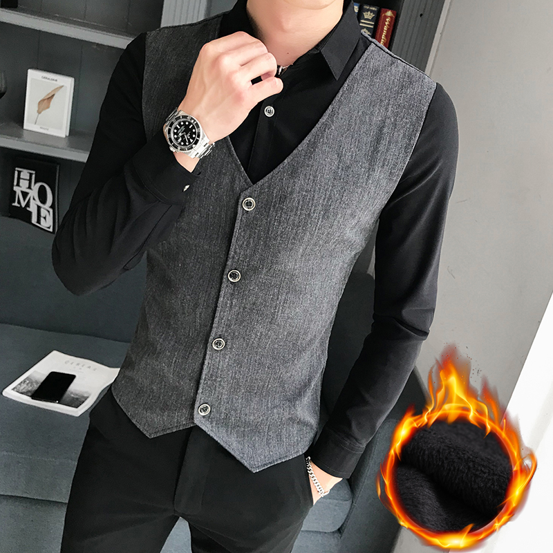 Men Shirt Blouse Fake Two Pieces Casual Long Sleeve Dress Shirts Slim Fit Fashion Design Top Night Club Work Clothing Camisa