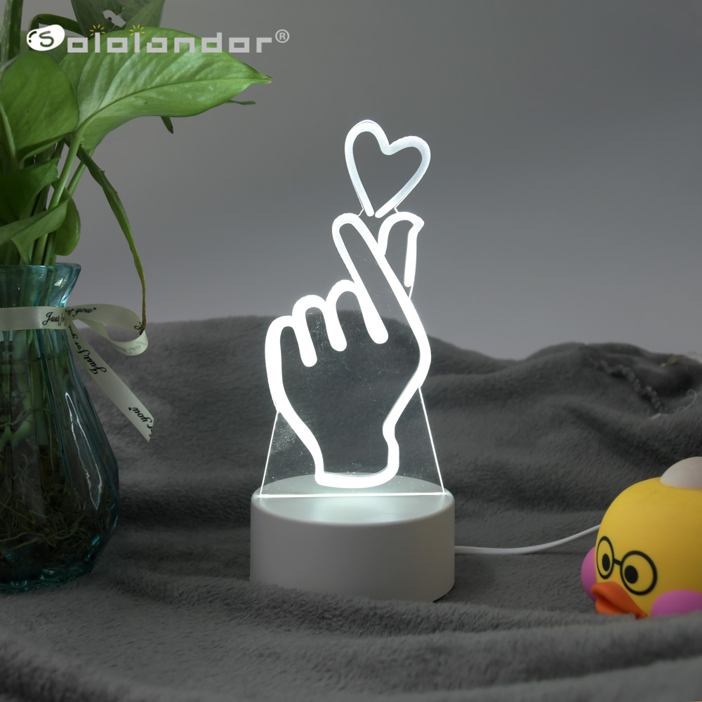 New 3 Colors I Love You LED Light 3D Night Light LED Table Lamps Table Lamp Eye Protection Acrylic Board Color Lamp For Bedroom