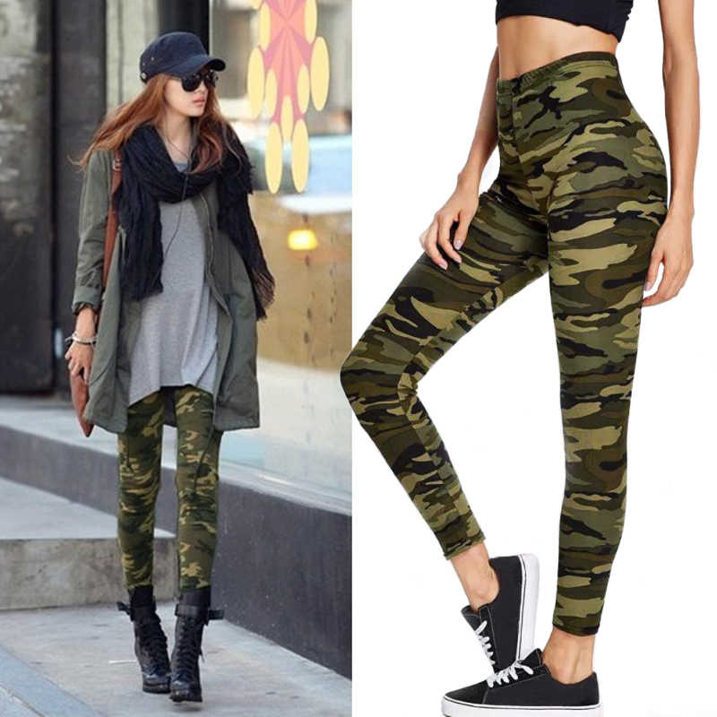 Sexy Leggings High Waist Long Pants For Work Sportswear Elastic Leisure Leggings Casual Camouflage Sports Leggings For Women