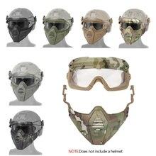 Страйкбольная пейнтбольная маска для охоты+ тактические Пейнтбольные очки тактическая Боевая полумаска для лица Военная военная игра защитные маски для лица