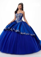 Amazing Royal Blue Burgundy 2020 Quinceanera Prom dresses With Gold Embroideried Sweetheart Satin Ball Gown Evening Party Sweet