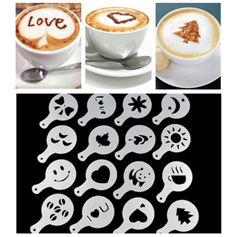 New 16pcs/set Coffee Latte Cappuccino Printing Flower Mode Coffee Foam Spray Template Plastic Garland Mold  Decoration Tool