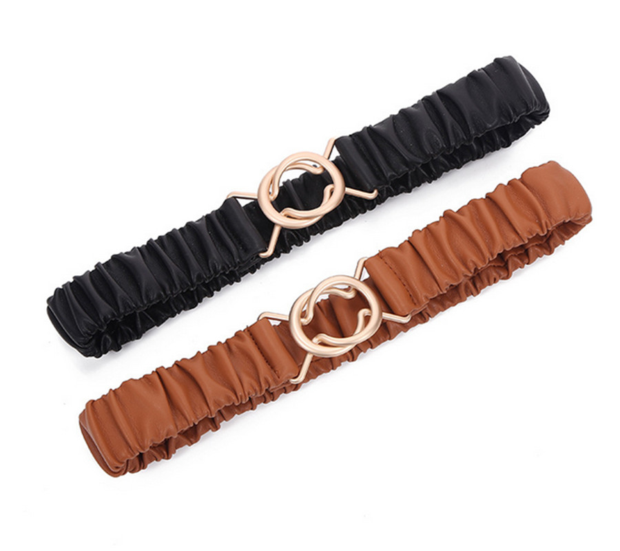 2020 New Ladies Elastic Belt Decoration Belt Sweater Outer Waist Seal Round Buckle Stylish Simple Belt