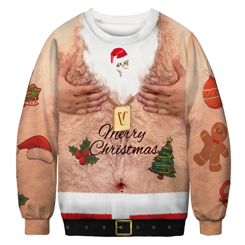 Christmas Sweater Novelty Funny Ugly Christmas Sweater Unisex Men Women 3D Printing Pullover Jumpers Oversized Sportwear Sweater