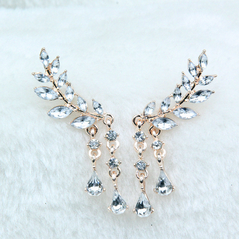 Women's Angel Wings Stud Earrings Rhinestone Inlaid Alloy Ear Jewelry Party Earring Gothic Feather Brincos Fashion 2019