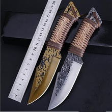 Hand-grain forging high hardness straight knife Outdoor knife Portable tactical field survival self-defense tool damascus steel forged straight knife hunting high hardness outdoor self defense knife tactical army survival knife edc tools