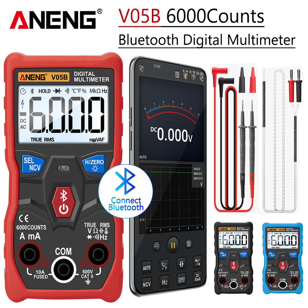 ANENG V05B Digital 6000 Counts Professional Analog Multimeter AC DC Currents Voltage Mini Testers True RMS  Bluetooth Multimetro