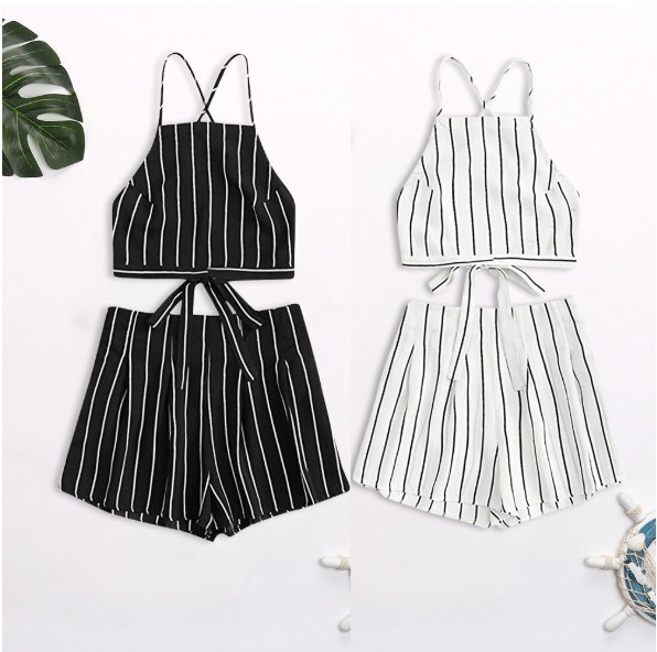 Cross Border Supply Of Goods EBay Amazon Europe And America Sexy Stripes Bandage Cloth Backless Beach Holiday Set A Large Amount