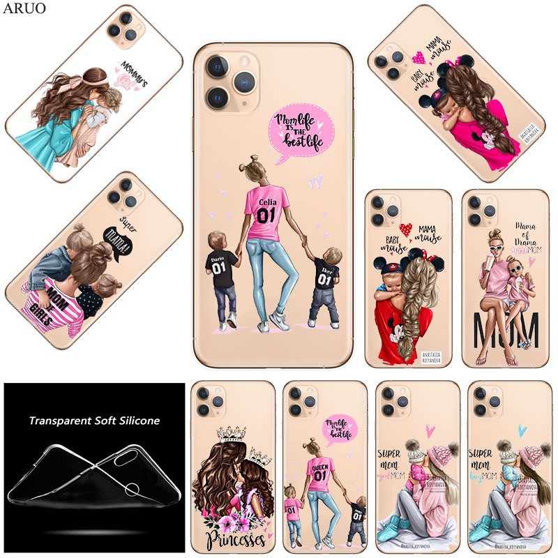 SOFT TPU Silicone Phone <font><b>Case</b></font> <font><b>for</b></font> <font><b>iphone</b></font> 11 11Pro XS Max X XR SE Black Brown Hair Baby Mom <font><b>Boy</b></font> Girl <font><b>cases</b></font> <font><b>for</b></font> 7 8 6 Plus 5S Cover image