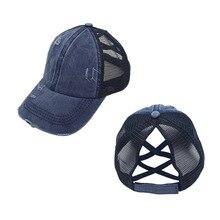 Baseball-Cap Ponytail Washed Fashionoutdoor Sports Cotton Summer Mesh Uv-Protection Lady