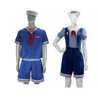 Stranger Things Robin Steve Cosplay Costume ice cream Print Sailor Suit