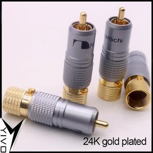 Image 3 - 8 pçs yivo xssh hi end alta fidelidade diy latão 62% chapeamento de cobre 24k ouro macho áudio vídeo rca plug conector plugues jack