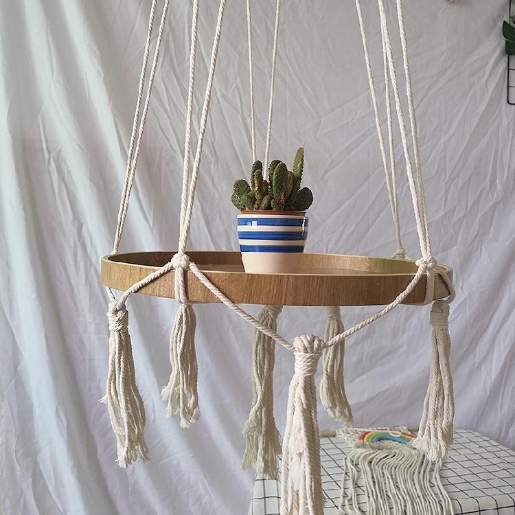 Boho-Macrame-Hanging-Plant-Support-Wood-Shelf-Plate-Handmade-Korean-Nordic-Home-Bedroom-Decor-Bed-Side-Small-Stuff-Organizer-07