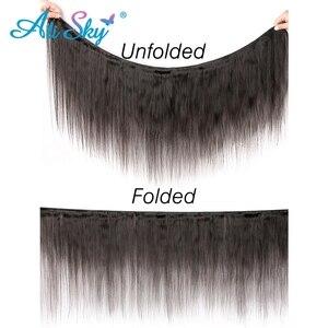 Image 2 - Бразильские пряди волос AliSky с фронтальным переплетением 13x4, прямые пряди волос с застежкой, человеческие волосы Remy