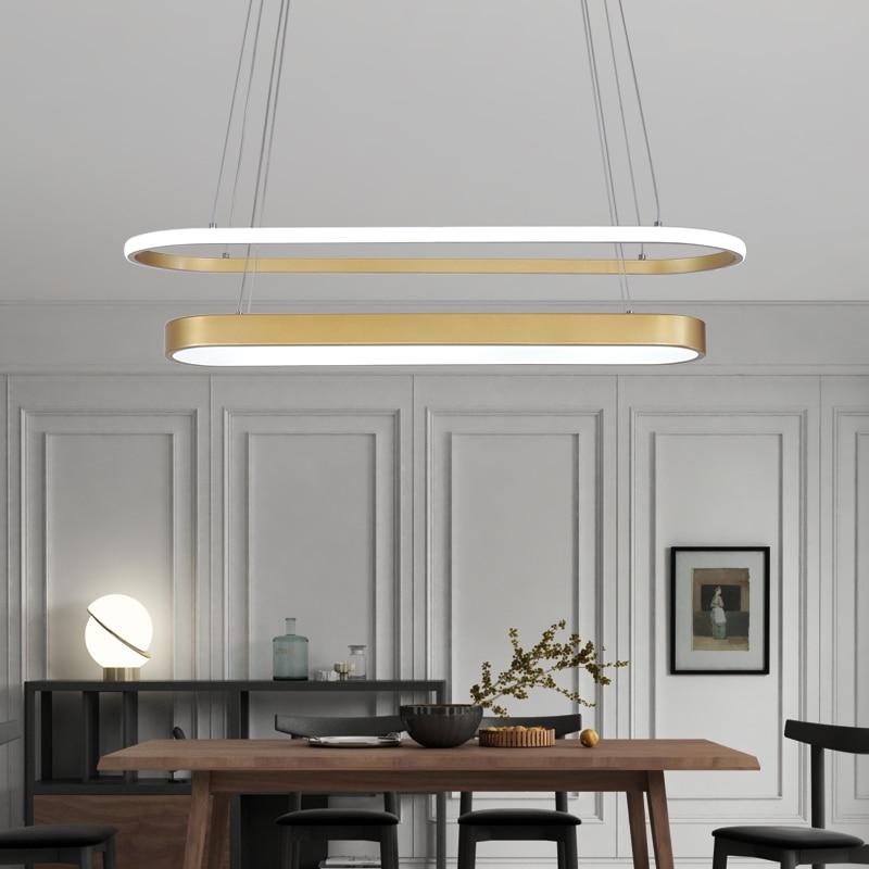 Modern Led Pendant Light For Kitchen Dining Living Room Suspension Luminaire Gold Black Avize Lustre Pendant Lamp