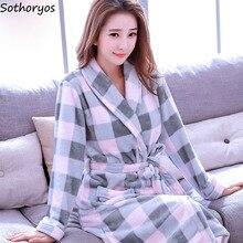 Albornoz largo Kawaii para mujer, bata de dama de honor suave y cálida, de estilo coreano, estampado camisón hasta la rodilla, elegante