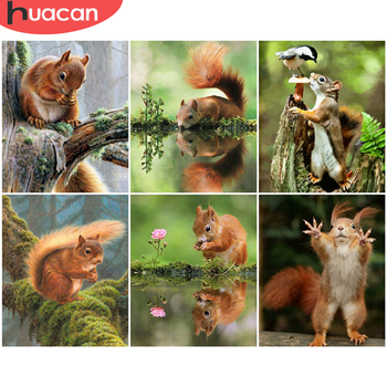 HUACAN Pictures By Number Squirrel Kits DIY Painting By Numbers Animal Drawing On Canvas Hand Painted Paintings Art Home Decor