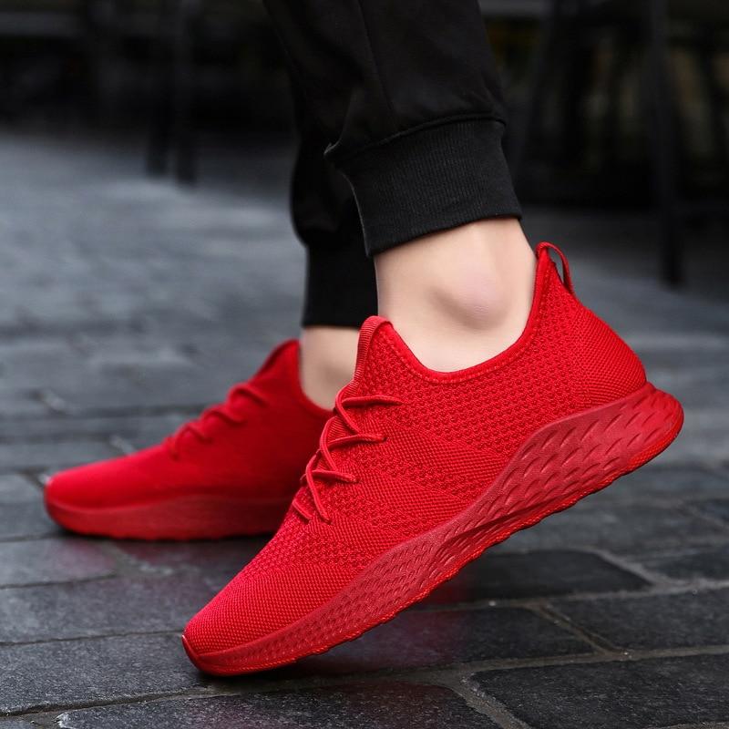 Дышащие мужские кроссовки; Мужская обувь для взрослых; цвет красный, черный, серый; высокое качество; удобные нескользящие мужские туфли из мягкой сетки; сезон лето; размеры 38 47 - 5