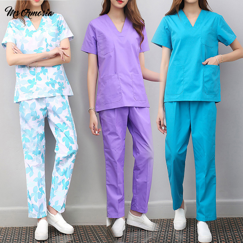 Frosted Tops Pants Hospital Doctor Medical Set Short Sleeve V-neck Uniform Set Dental Clinic Beauty Salon Workwear Clothes Care