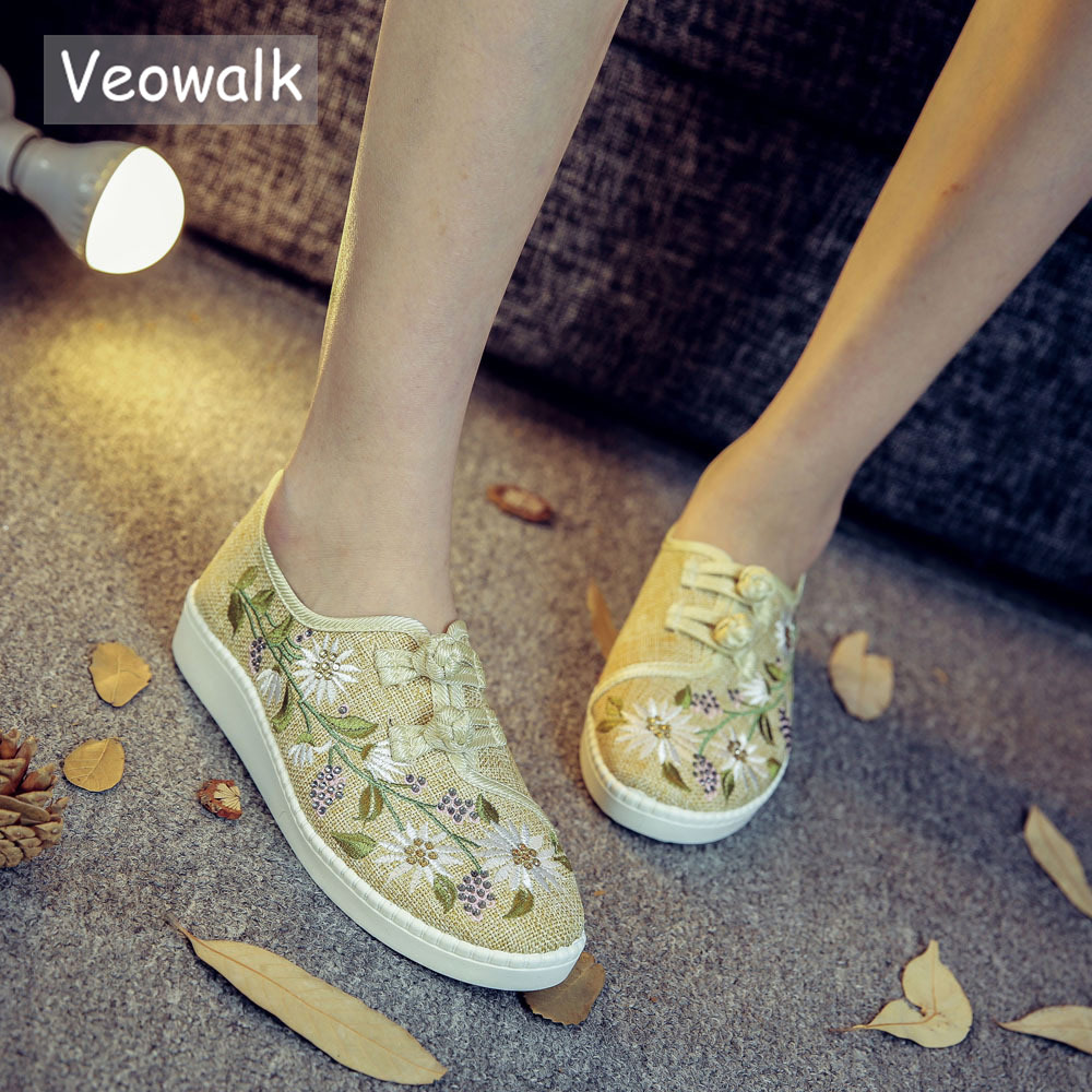 Veowalk Clearance Sale Flowers Embroidered Womens Linen Canvas Slip On Flat Shoes Dual Cotton Buttons Ladies Comfort Loaferslady comfortzapatos mujerflat shoes -