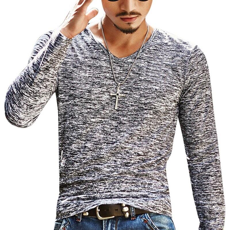 2020 Spring Men T-shirt Long Sleeve T Shirt Men Slim Basic Tops Tee Men Clothing Summer V Neck Top Tees Shirts Plus Size 3XL 1